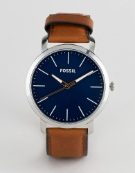 Fossil BQ2311 mens brown leather chronograph watch with blue dial - Brown