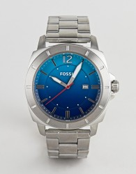 Fossil BQ2344 mens stainless steel watch with blue dial - Silver