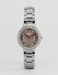 Fossil ES4147 ladies stainless steel watch with pink dial - Silver