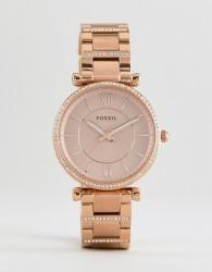Fossil ES4301 Carlie Bracelet Watch In Rose Gold 35mm - Gold