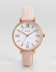 Fossil ES4303 Jacqueline Leather Watch In Pink 36mm - Pink