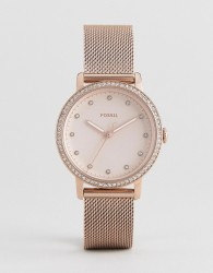 Fossil ES4364 Neely Mesh Watch In Rose Gold 34mm - Gold