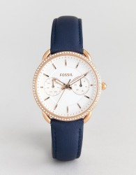 Fossil ES4394 Tailor Navy Leather Watch in Rose Gold - Navy