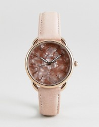 Fossil ES4419 Tailor Leather Watch in Glossy Pink 35mm - Pink