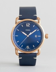 Fossil FS5274 Commuter Leather Watch In Blue - Blue