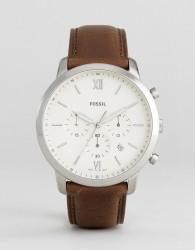 Fossil FS5380 Neutra Chronograph Leather Watch In Brown - Brown