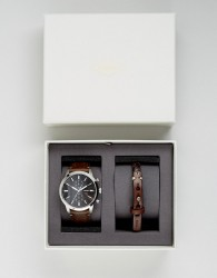 Fossil FS5394 Rutherford Leather Watch & Bracelet Gift Set - Brown