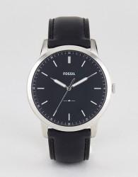 Fossil FS5398 Minimalist Leather Watch In Black 44mm - Black