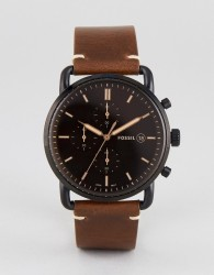Fossil FS5403 Commuter Chronograph Leather Watch In Brown 42mm - Brown