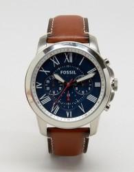 Fossil Grant FS5210 Leather Watch In Tan - Tan