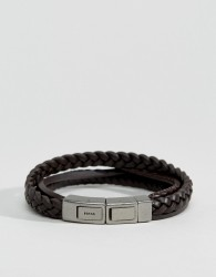 Fossil Plaited Leather Bracelet In Brown - Brown
