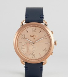 Fossil Q FTW1128 Navy Leather Tailor Smart Watch - Blue
