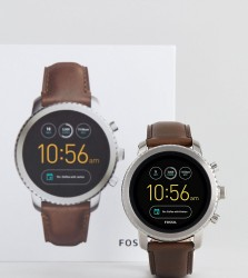 Fossil Q FTW4003 Explorist Leather Smart Watch In Brown - Brown