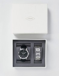Fossil The Minimalist Leather Watch Gift Set with Interchangeable Strap - Silver