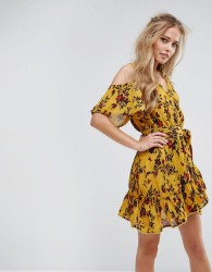 Foxiedox Floral Cold Shoulder Wrap Dress - Multi