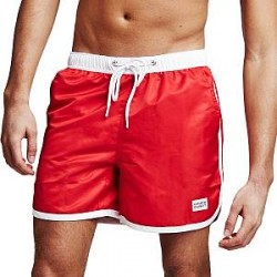 Frank Dandy Long Bermuda Swimshorts - Red/White - X-Large