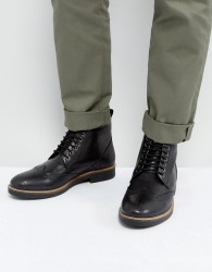 Frank Wright Brogue Boots Black Leather - Black