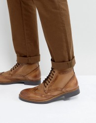 Frank Wright Brogue Boots Tan Leather - Tan
