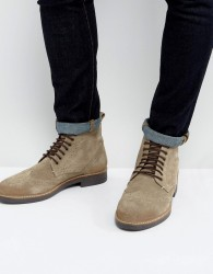 Frank Wright Brogue Boots Taupe Suede - Brown