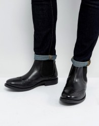 Frank Wright Brogue Chelsea Boots Black Leather - Tan