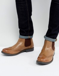 Frank Wright Brogue Chelsea Boots Tan Leather - Black