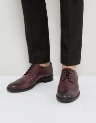 Frank Wright Brogues In Burgundy Leather - Red
