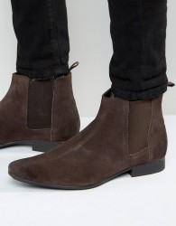 Frank Wright Chelsea Boots In Brown Suede - Brown