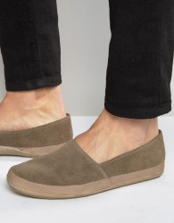 Frank Wright Havana Suede Espadrilles In Taupe - Brown