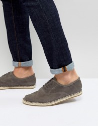 Frank Wright Lace Up Espadrilles In Grey Suede - Grey