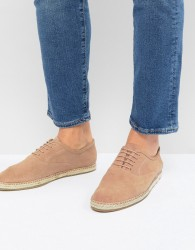 Frank Wright Lace Up Espadrilles In Pink Suede - Pink