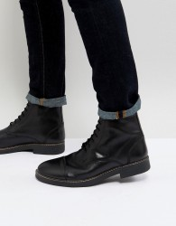 Frank Wright Military Lace Up Boots In Hi Shine Black - Black