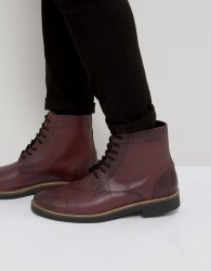 Frank Wright Military Lace Up Boots In Hi Shine Ox - Red
