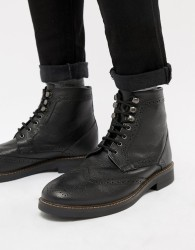 Frank Wright Milled Brogue Black Leather - Black