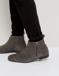 Frank Wright Side Zip Chelsea Boots Charcoal Suede - Grey