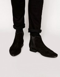 Frank Wright Suede Chelsea Boots - Black