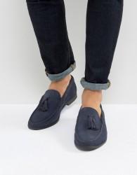 Frank Wright Tassel Loafers In navy Suede - Black