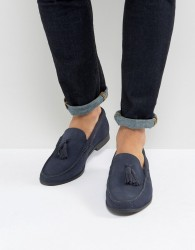 Frank Wright Tassel Loafers In navy Suede - Black