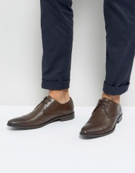 Frank Wright Toe Cap Derby Shoes In Brown Leather - Brown