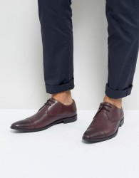 Frank Wright Toe Cap Derby Shoes In Burgundy Leather - Red