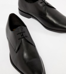 Frank Wright Wide Fit Derby Shoes In Black Leather - Black
