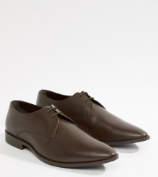 Frank Wright Wide Fit Derby Shoes In Brown Leather - Brown