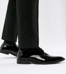 Frank Wright Wide Fit Derby Shoes In Patent Leather - Black