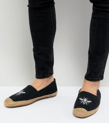 Frank Wright Wide Fit Embroided Espadrilles In Navy - Navy