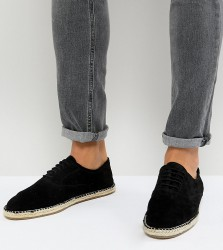 Frank Wright Wide Fit Lace Up Espadrilles In Black Suede - Black
