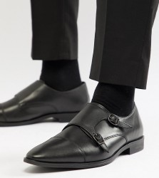 Frank Wright Wide Fit Monk Shoes In Black Leather - Black