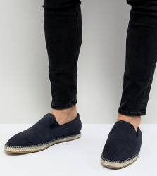 Frank Wright Wide Fit Slip On Espadrilles In Navy Suede - Navy