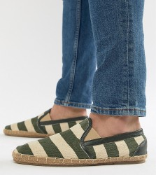 Frank Wright Wide Fit Stripe Espadrilles In Khaki - Green