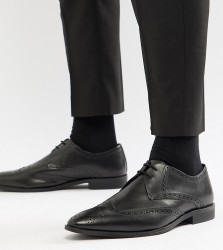 Frank Wright Wide Fit Wing Tip Brogue Shoes In Black Leather - Black