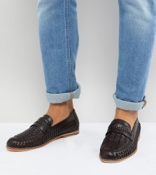 Frank Wright Wide Fit Woven Loafers In Brown Leather - Brown