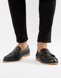 Frank Wright Woven Loafers In Black Leather - Black